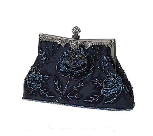 ShowYeu Damen Clutch Tasche Vintage Handmade Beaded Perlen Clutch Abendtasche Brauttasche Hochzeit Glitzer Bag Handtasche Weihnachtsgeschenk