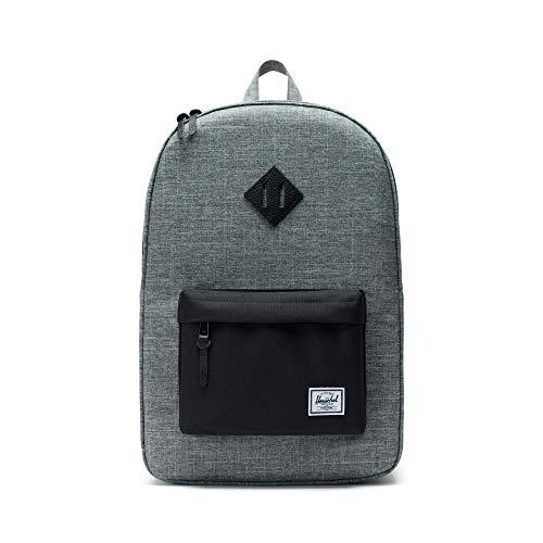 Herschel Heritage Backpack, Raven Crosshatch/Black/Black Pebbled Leather, Classic 21.5L