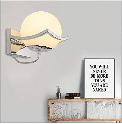 DAXGD Esférico LED Wandlamp lámpara de pared, soporte de metal de acero inoxidable, luz de pared LED, blanco cálido