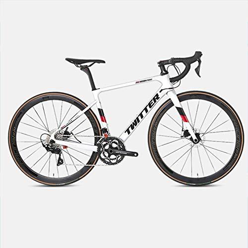 Yinhai Carbon-Rennrad, Shimano 105 / R7000 700C Carbon-Rennrad Mit Shimano 105 / R7000 22-Gang-Umwerfersystem Und Doppelscheibenbremse,Silver 51cm