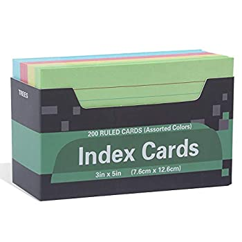 Thick Index Card Ruled Lined Colored Card,Heavy Weight Note Cards,Assorted Colors 3  x 5  for Home School Office 200-Count  Assorted Colors