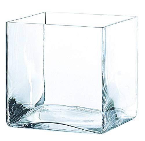 INNA-Glas Vaso Quadrato in Vetro Jack, Trasparente, 20x20x20cm - Portacandela/Vaso a cuboide