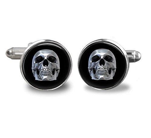 Herren Manschettenknöpfe Totenkopf–Skull–craneo gemelos schwarz