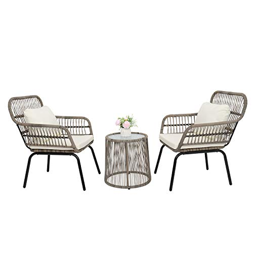 VINGLI 3 Pieces Patio Porch Furniture Sets, Indoor Outdoor All-Weather Wicker Conversation Bistro Furniture Set,Garden Furniture Sets,Patio Conversation Sets Clearance, Cushions Included (Tan)