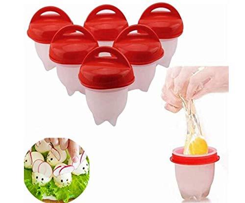 UMBRANDED Juego de 6 cuecehuevos de silicona, sin cáscara, antiadherente, sin BPA, para cocer huevos