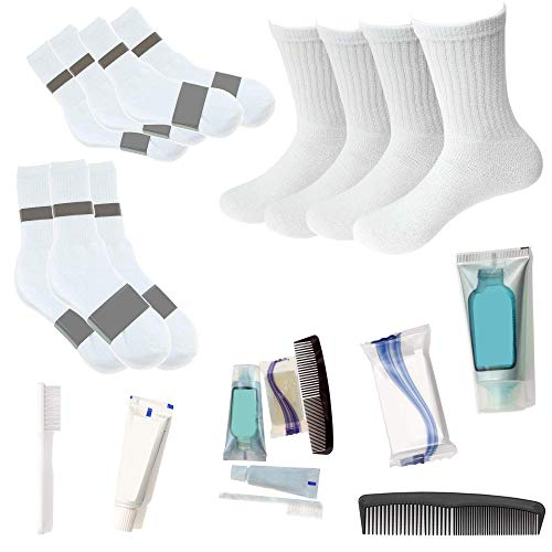 Bulk Homeless Care Package - Wholesale Case of 24 Sock Pairs and 24 Hygiene Kits