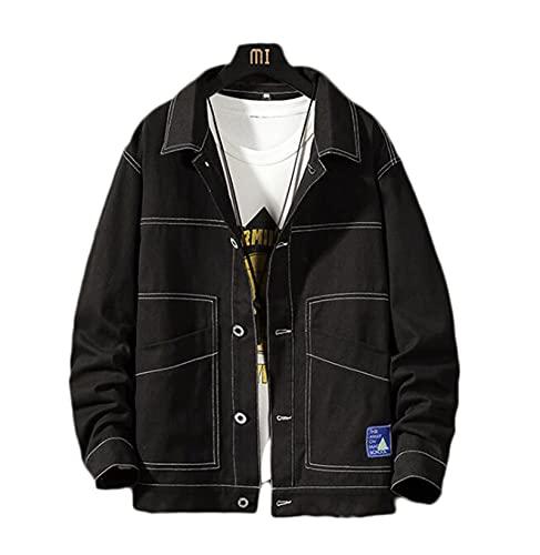 Retro Kurtka Dżinsowa Męska Spring Button Solid Color Bluzka Krótki płaszcz (Color : Black, Size : L)