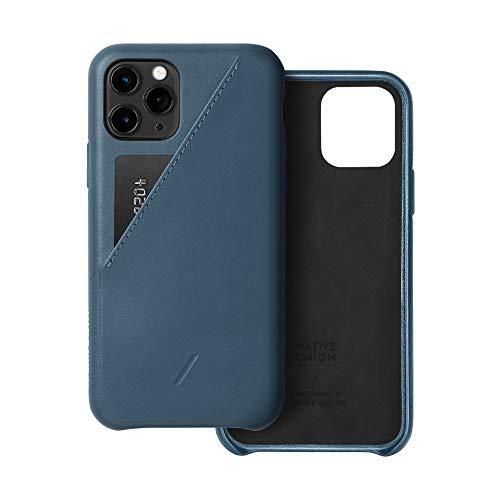 Native Union CLIC Hülle mit Kartenfach für iPhone 11 Pro - Leder-Cover mit Kartenfach - Kompatibel mit iPhone 11 Pro (Indigo)