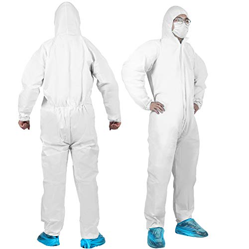 YIBER Disposable Protective Coverall Suit, Made of SF Material, Excellent air permeability and water repellency - 1 PCS/PACK (XXXL, White)