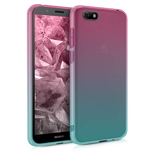 kwmobile Hülle kompatibel mit Huawei Y5 / Y5 Prime (2018) - Handyhülle - Handy Hülle Zwei Farben Pink Blau Transparent