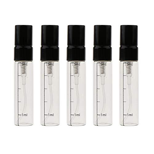 Generic 5x Botellas de Fragancia Recargables de Vidrio Vacías Viales de Perfume de 5 Ml con Tapas a Prueba de Fugas para Viajes Y Citas - Oro