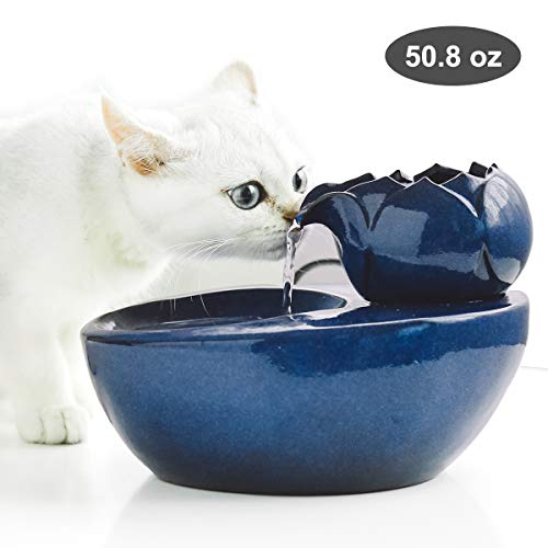 Dingqu Lotus Cat Water Fountain, Automatic Ceramic Drinking Fountain for Pets,Easy to Clean, 50.8 oz. Water Capacity (BLUE)