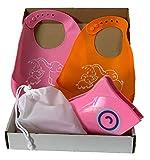 Colmo - Juego de 2 baberos de silicona con bolsillo y reductor de WC plegable para niños Rosa