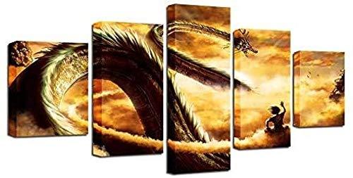 HUA JIE 5 Piezas Pintura Imágenes Marco De Arte De Pared Moderno 5 Piezas Dibujos Animados Dra-Gon Ba-Ll Z Pinturas Go-KU Ride Shenron Poster