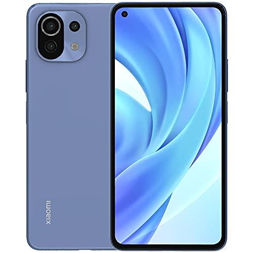 Xiaomi Mi 11 Lite (128 GB, 6 GB) 6.55 pulgadas 90 Hz AMOLED, cámara triple de 64 MP, Snapdragon 732G, SIM dual GSM desbloqueado (US + Global) 4G LTE versión internacional (paquete de cargador de coche rápido, azul Bubblegum
