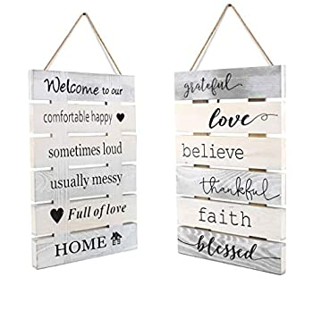 8X10 Inch Antique Solid Wooden 2 Sides Printing Inspirational Home Kitchen Farmhouse Wall Decor Signs-Welcome to Our House Faith Love Quotes Signs