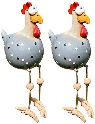 MKDASFD Gallina de cerámica decorativa para jardín, diseño divertido de gallina