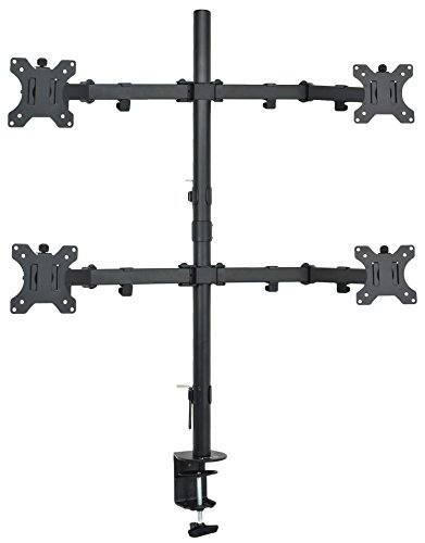 VIVO Quad 13 to 30 inch LCD Monitor Desk Mount, Fully Adjustable Stand with Tilt and Swivel, Holds 4...