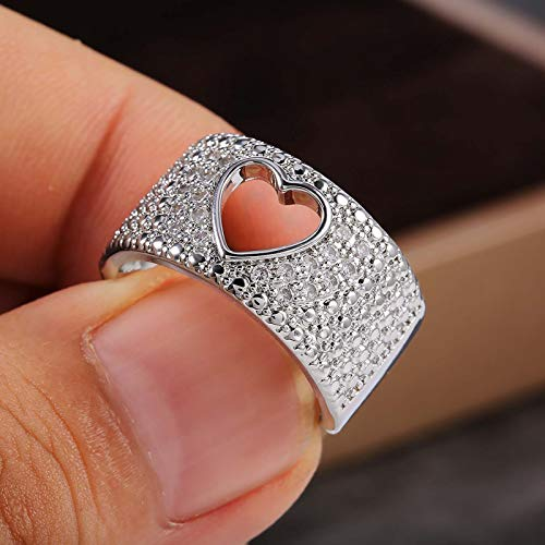 Janly Clearance Sale Women Rings , Exquisite Hollow Heart Copper Inlaid Zircon Ladies Ring Accessories , Valentine's Day Birthday Jewelry Gifts for Ladies Girls (E)