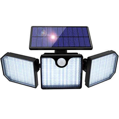 Luz Solar Exterior, Orelpo 230 LED Luces Solares Ajustable con Sensor de Movimiento y Gran Angular de 270 ° Lampara Solar Exterior, Foco Solar Exterior a Prueba de Agua IP65 para Jardín Garaje Camino.