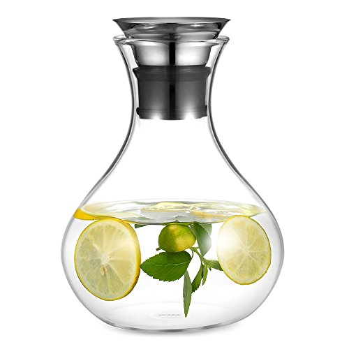 Ecooe Glass Fruit Water Pitcher 1500ml\50 oz Glass Drink Water Juice Carafe Pitcher with Stainless Steel Lid