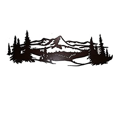 Say It All On The Wall Mountain Scene with Pine Trees Metal Wall Accent