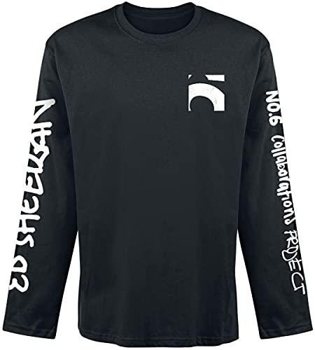 Ed Sheeran 6 Pocket Hombre Camiseta Manga Larga Negro M, 100% algodón, Regular