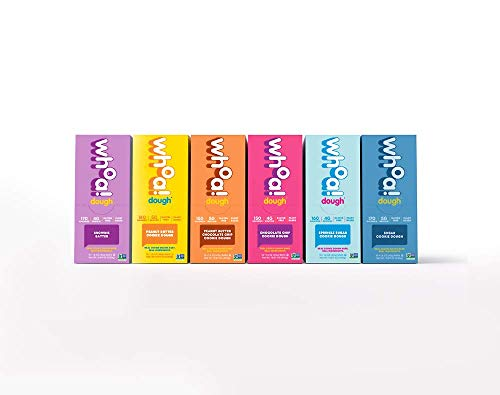 WHOA DOUGH Edible Cookie Dough Bars, Plant Based, Gluten Free, Vegan, Non GMO, Healthy Alternative, Real Ingredients, Healthy Snacks For Kids And Adults, 6 bars (Variety Pack)