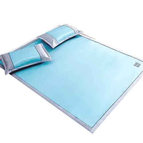 WENZHE Matratzen Sommermatte Sommer Sommerschlafmatte Schlafunterlage Matratze EIS Seide Gewebte Waschbar,7 Größen, 2 Farben, Mit Kissenbezug Strohmatte Teppiche (Farbe : Blau, größe : 150X195cm)