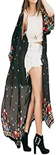 Cardigan for Women Loose Floral Chiffon Kimono Clearance Sale Oversized Shawls Fankle Long Summer Beachwear Cover Up Open Cape Front Coat