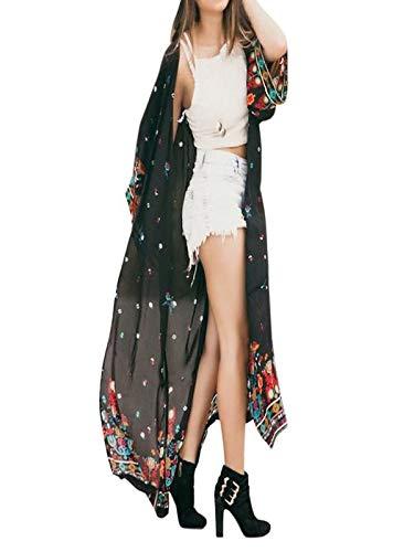 ESAILQ-Capa Mujeres otoño Invierno Flojo Floral Gasa Kimono Cardigan de Gran tamaño con chales Flecos