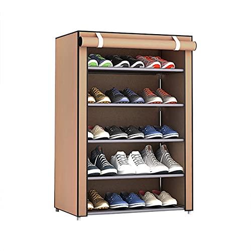 xingguang Zapatero de varios niveles, a prueba de polvo, portátil, apilable, de acero, tela no tejida, organizador de zapatos, armario, soporte para el hogar (color: 4)