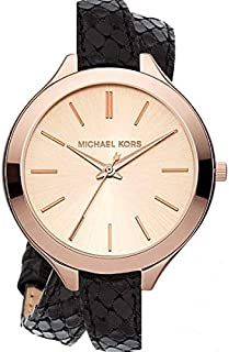 Michael Kors Slim Runway Women's Rose Gold Dial Leather Band Watch - MK2322