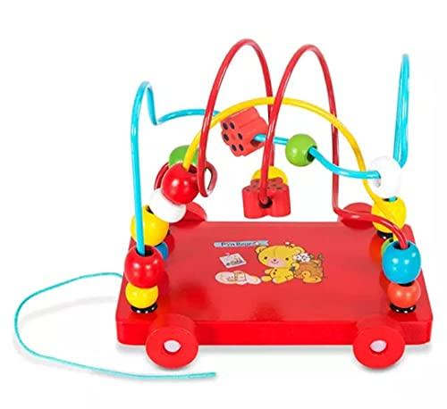 CHLOENCE Juego educativo método Montessori, remolque + labirinto de cuentas de colores