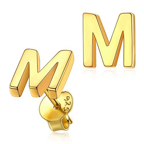 Letras Pequenas Pendientes Iniciales M de Plata Oro