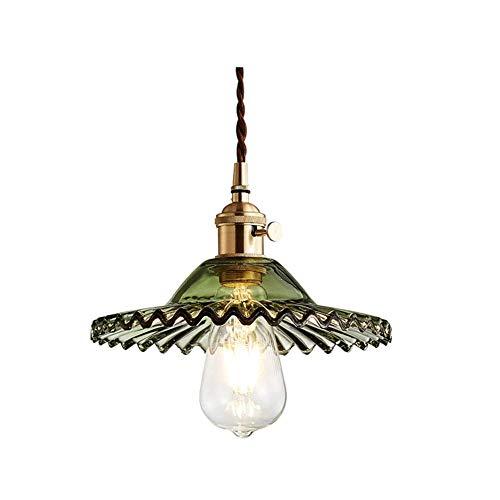 Lámpara colgante industrial vintage con lámpara de cristal verde, lámpara de techo flexible trenzada retro, lámpara de techo E27 de latón, colgando iluminación para sala de estar, dormitorio, hotel, b