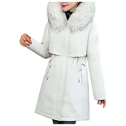 BIBOKAOKE Chaqueta de invierno para mujer con capucha, abrigo de felpa, chaqueta cálida, chaqueta acolchada larga, abrigo de moda, abrigo de invierno, cortavientos, con bolsillos y cremallera