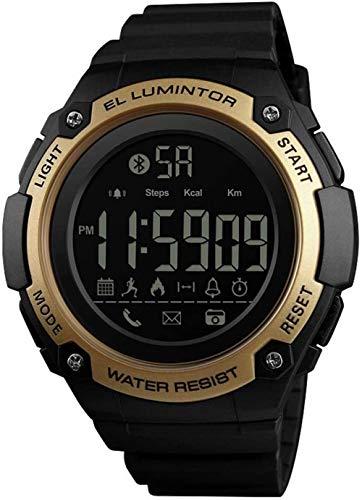 JSL Reloj digital para hombre deportivo al aire libre multifuncional Bluetooth Fitness reloj 50 m impermeable contador de calorías retroiluminación podómetro llamada/SMS recordatorio reloj inteligente