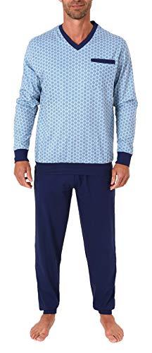 Edler Normann Herren Pyjama Schlafanzug lang mit Bündchen - auch in Übergrössen bis Gr. 70-191 101 90 542, Größe2:56, Farbe:hellblau