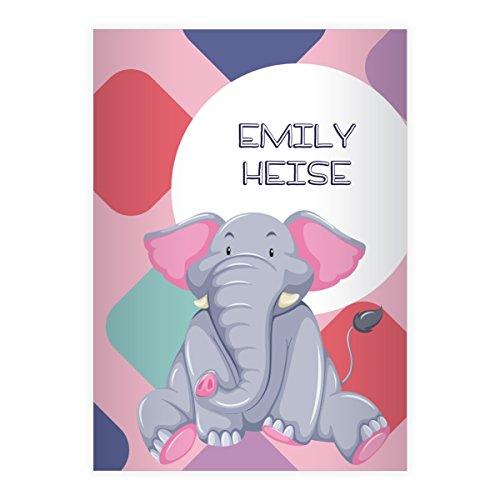 Kartenkaufrausch 1 gepersonaliseerde, schattige comic olifant DIN A4 schoolschrift, schrijfschrift op kleurrijk grafisch patroon in roze liniatuur 20 (blanco boekje)