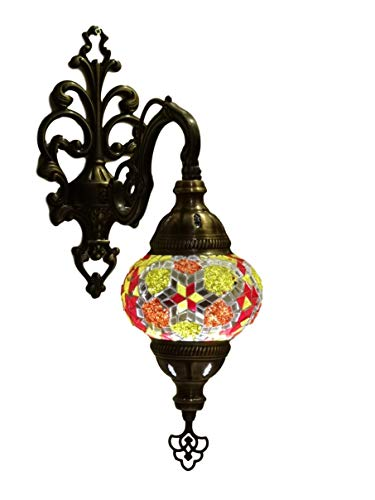 Oosterse mozaïek wandlamp (Turkse lamp) ø 13 cm geel/bont