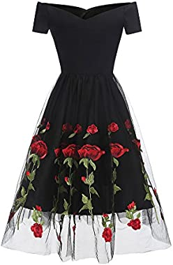 Roiii Women's 1950s V-Neck Vintage Cocktail Party Casual Rockabilly Dress Plus Size