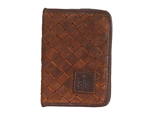 STS Ranchwear Basket Weave Magnetic Wallet Brown One Size