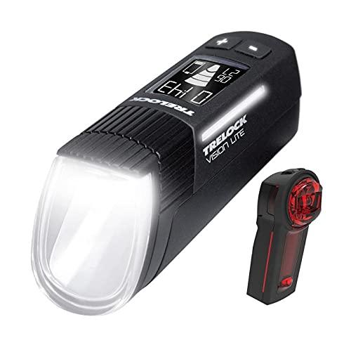 Trelock Unisex– Erwachsene 660 I-go Vison Lite/Ls 740 Vector Akku Beleuchtungsset, schwarz, Einheitsgröße