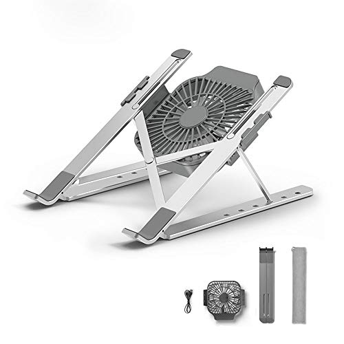 Stands Laptop, Aluminum Computer Riser, Ergonomic Laptops Elevator for Desk,Height & Angle Adjustable,with CPU Cooling Fans,Metal Holder Compatible with 11 to 17 Inches Notebook Computer, Silver