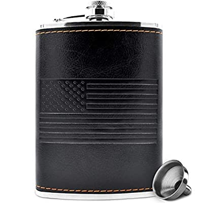 Premium 8 oz Soft Touch Leather Wrap Outdoor Adventure Flask 304 Stainless Steel - Leak Proof - Liquor Hip Flask - Includes Bonus Funnel (8 ounce capacity)