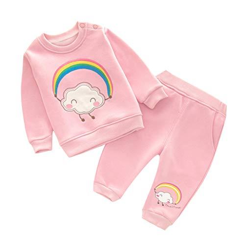 Baby Sweatshirts en Broeken Kledingsets Kids Trainingspakken Lange mouwen Tops Broek 4-5 Years Rainbow Pink