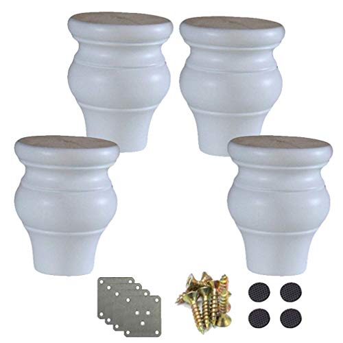 Yuany 4 stuks massief houten poten poten pompoen sofa voeten, keukenmeubelen voetvervanging, voor bankpoten commode bedkast DIY meubelproject, met hardware-onderdelen (zwart 12 cm/4,7 in)