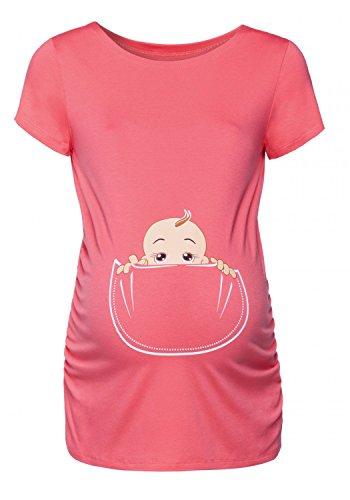 Happy Mama. para Mujer Camiseta premamá T-Shirt Estampado bebé en Bolsillo. 501p (Coral, EU 38/40, M)