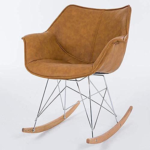 De cuero moderno escandinavo Silla tapizada mecedora, ocio sofá reclinable salón balcón de la habitación silla,Khaki